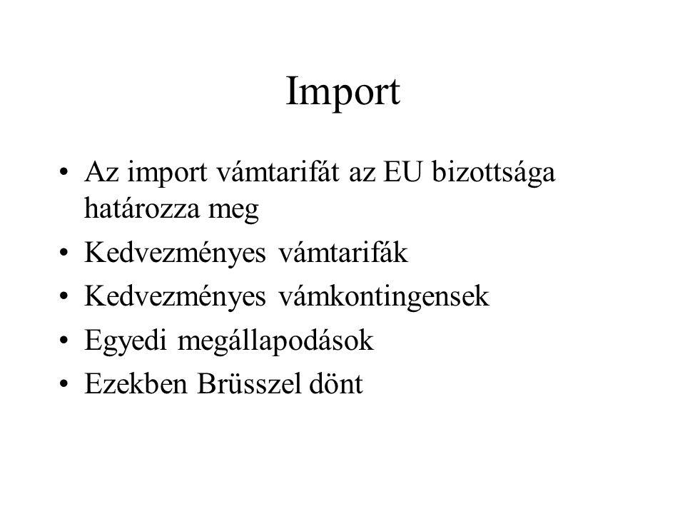 Import Az import vámtarifát az EU bizottsága határozza meg Kedvezményes vámtarifák Kedvezményes vámkontingensek Egyedi megállapodások Ezekben Brüsszel dönt