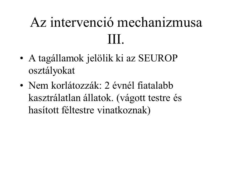 Az intervenció mechanizmusa III. A tagállamok jelölik ki az SEUROP osztályokat Nem korlátozzák: 2 évnél fiatalabb kasztrálatlan állatok. (vágott testr