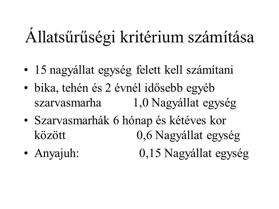 Állatsűrűségi kritérium számítása 15 nagyállat egység felett kell számítani bika, tehén és 2 évnél idősebb egyéb szarvasmarha 1,0 Nagyállat egység Sza