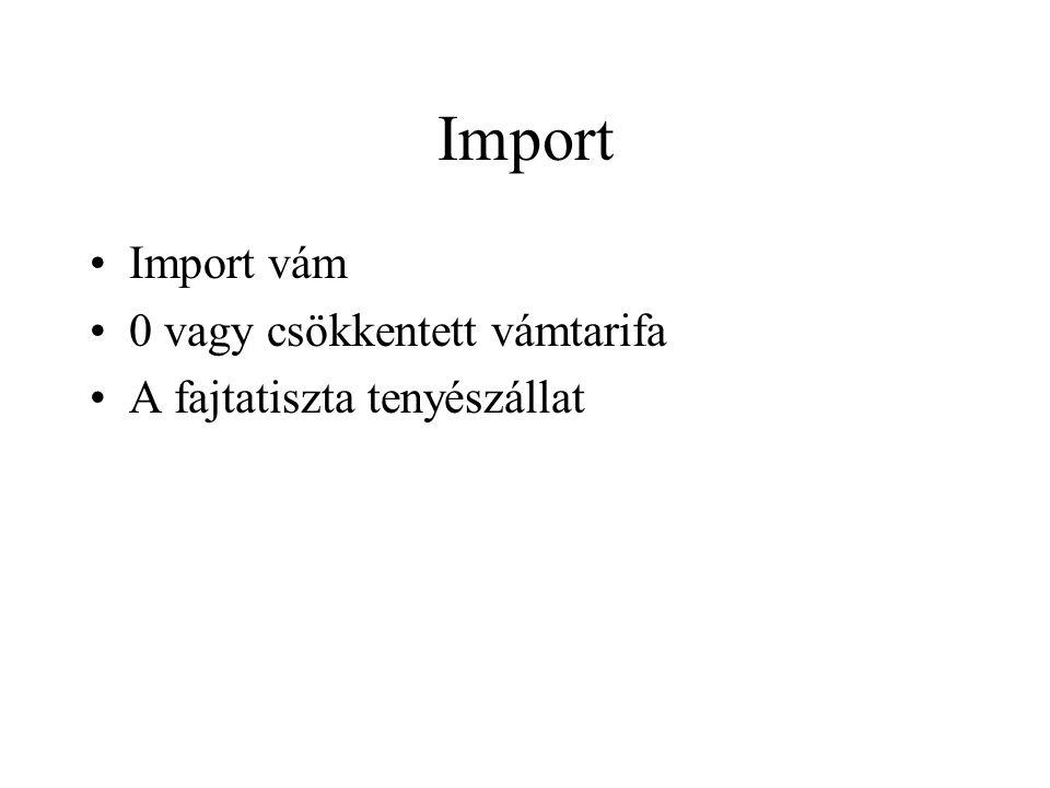Import Import vám 0 vagy csökkentett vámtarifa A fajtatiszta tenyészállat