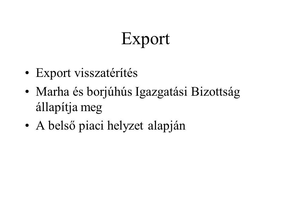 Export Export visszatérítés Marha és borjúhús Igazgatási Bizottság állapítja meg A belső piaci helyzet alapján