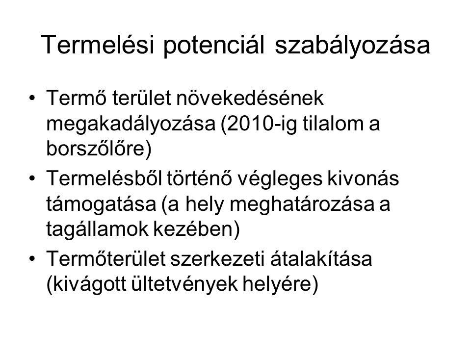 Termelési potenciál szabályozása Termő terület növekedésének megakadályozása (2010-ig tilalom a borszőlőre) Termelésből történő végleges kivonás támog