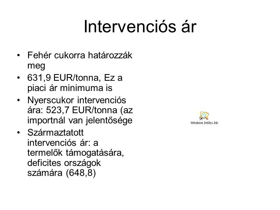 Intervenciós ár Fehér cukorra határozzák meg 631,9 EUR/tonna, Ez a piaci ár minimuma is Nyerscukor intervenciós ára: 523,7 EUR/tonna (az importnál van jelentősége Származtatott intervenciós ár: a termelők támogatására, deficites országok számára (648,8)