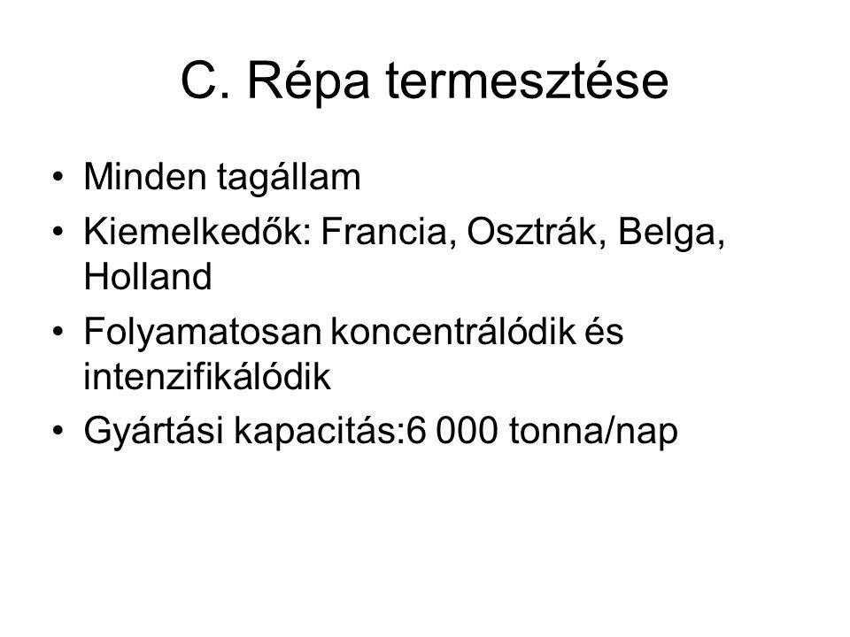 C. Répa termesztése Minden tagállam Kiemelkedők: Francia, Osztrák, Belga, Holland Folyamatosan koncentrálódik és intenzifikálódik Gyártási kapacitás:6