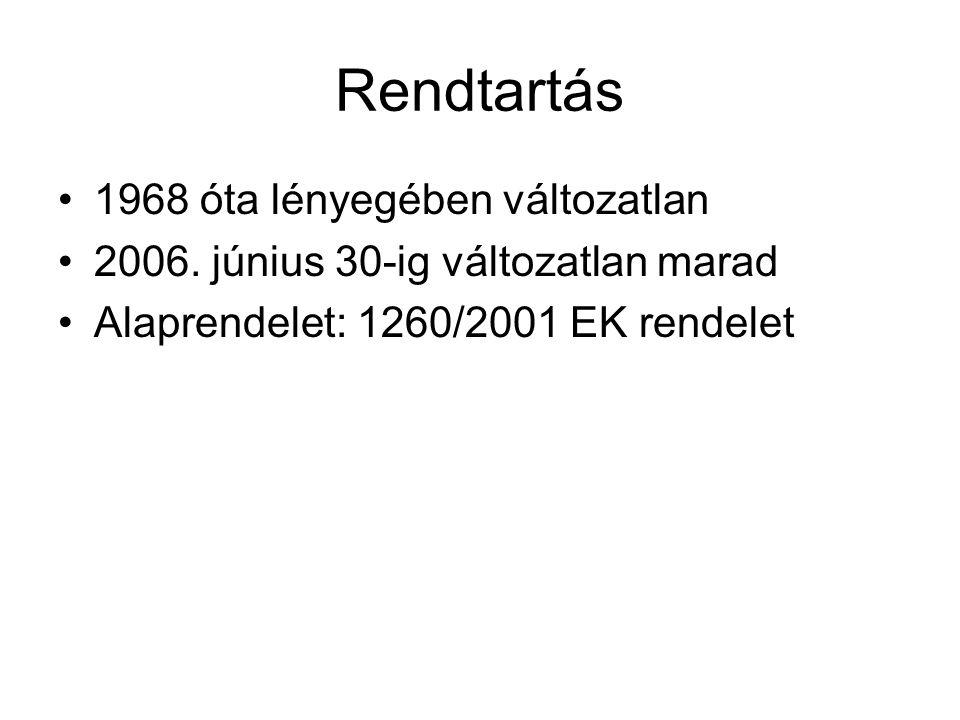 Rendtartás 1968 óta lényegében változatlan 2006. június 30-ig változatlan marad Alaprendelet: 1260/2001 EK rendelet