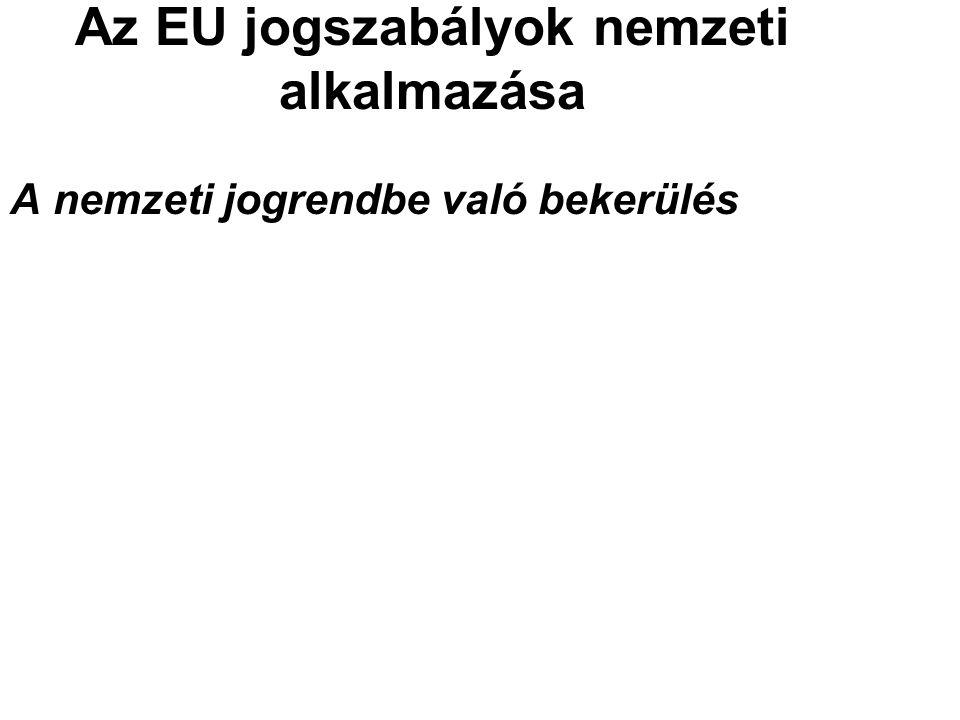 Az EU jogszabályok nemzeti alkalmazása A nemzeti jogrendbe való bekerülés