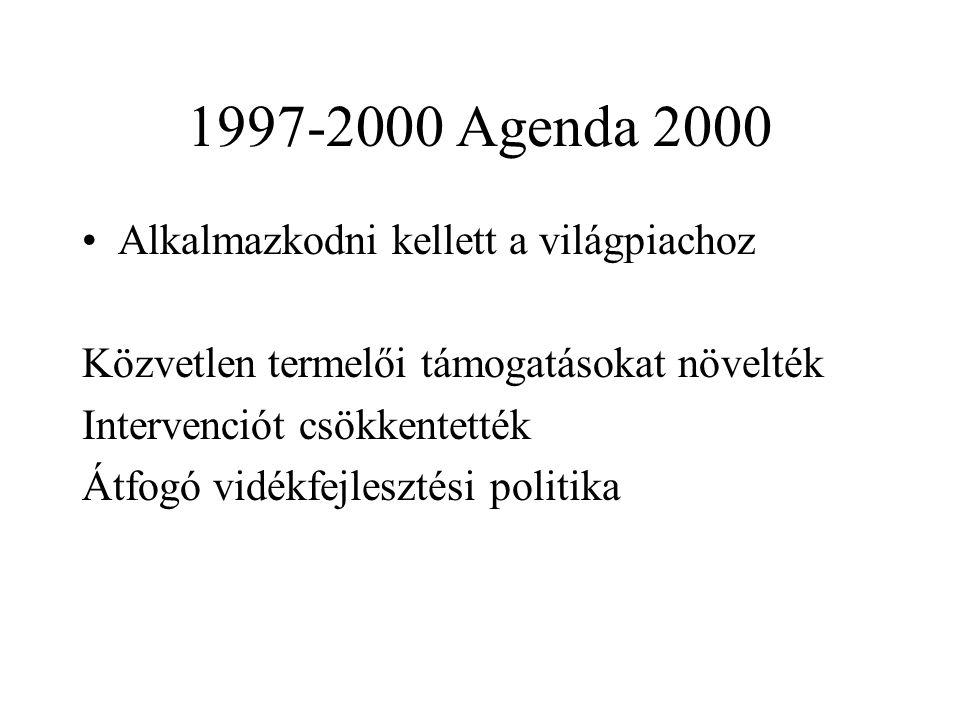 1997-2000 Agenda 2000 Alkalmazkodni kellett a világpiachoz Közvetlen termelői támogatásokat növelték Intervenciót csökkentették Átfogó vidékfejlesztési politika