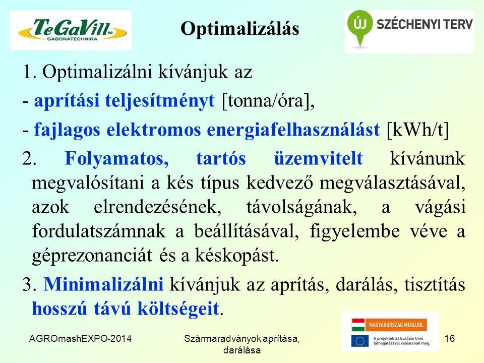 Optimalizálás 1. Optimalizálni kívánjuk az - aprítási teljesítményt [tonna/óra], - fajlagos elektromos energiafelhasználást [kWh/t] 2. Folyamatos, tar