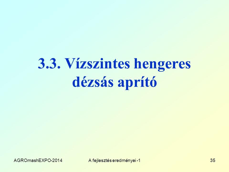 3.3. Vízszintes hengeres dézsás aprító AGROmashEXPO-2014A fejlesztés eredményei -135