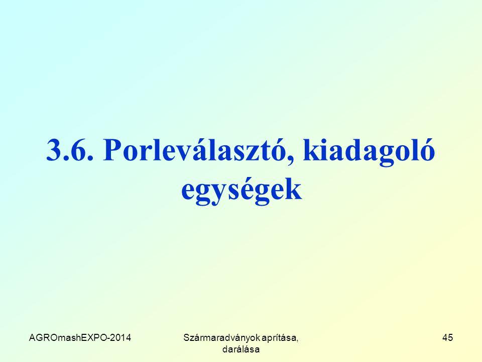 3.6. Porleválasztó, kiadagoló egységek AGROmashEXPO-2014Szármaradványok aprítása, darálása 45