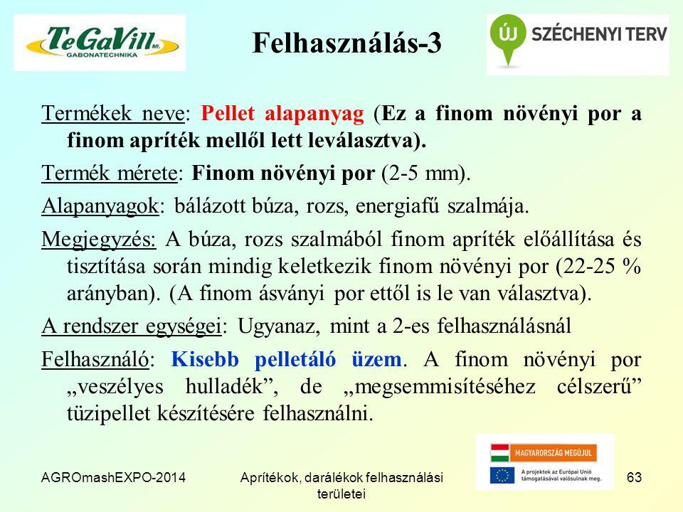 AGROmashEXPO-2014Aprítékok, darálékok felhasználási területei 63 Felhasználás-3 Termékek neve: Pellet alapanyag (Ez a finom növényi por a finom apríté