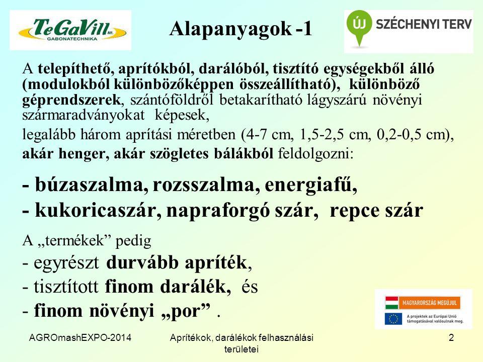 """AGROmashEXPO-2014Aprítékok, darálékok felhasználási területei 2 Alapanyagok -1 A telepíthető, aprítókból, darálóból, tisztító egységekből álló (modulokból különbözőképpen összeállítható), különböző géprendszerek, szántóföldről betakarítható lágyszárú növényi szármaradványokat képesek, legalább három aprítási méretben (4-7 cm, 1,5-2,5 cm, 0,2-0,5 cm), akár henger, akár szögletes bálákból feldolgozni: - búzaszalma, rozsszalma, energiafű, - kukoricaszár, napraforgó szár, repce szár A """"termékek pedig - egyrészt durvább apríték, - tisztított finom darálék, és - finom növényi """"por ."""