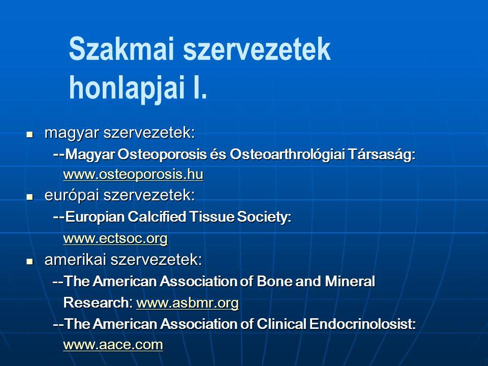 Szakmai szervezetek honlapjai II.