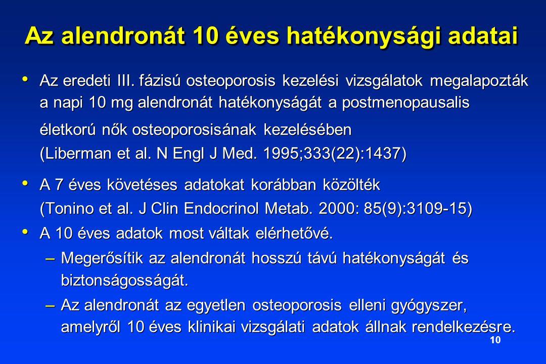 10 Az alendronát 10 éves hatékonysági adatai Az eredeti III.