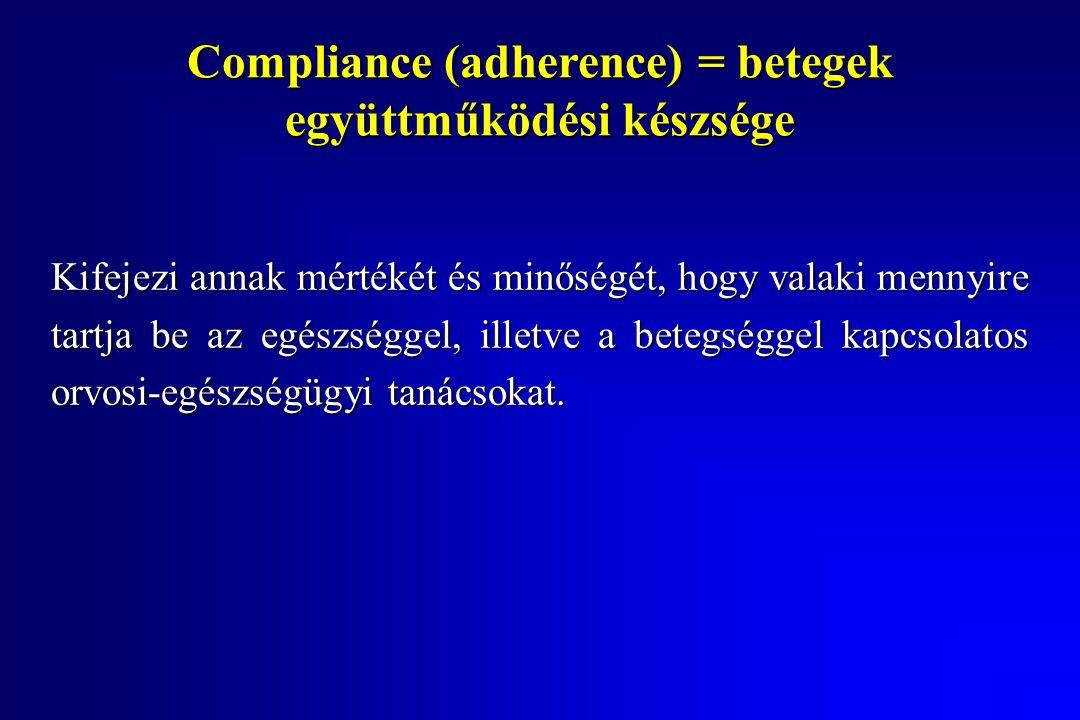 Compliance (adherence) = betegek együttműködési készsége Kifejezi annak mértékét és minőségét, hogy valaki mennyire tartja be az egészséggel, illetve a betegséggel kapcsolatos orvosi-egészségügyi tanácsokat.