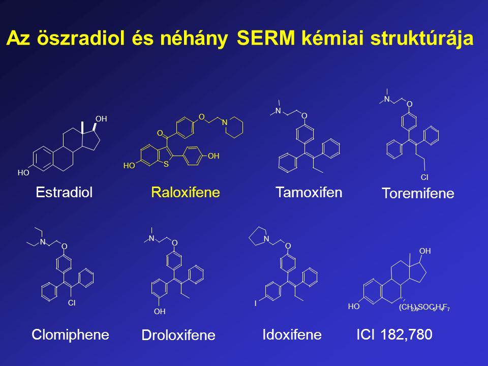 N OH O O HO S Raloxifene O N OH Droloxifene O N Cl Clomiphene O N Cl Toremifene Tamoxifen O N O N I Idoxifene OH HO Estradiol ICI 182,780 HO OH (CH 2 ) 9 SOC 5 H 4 F 7 Az öszradiol és néhány SERM kémiai struktúrája