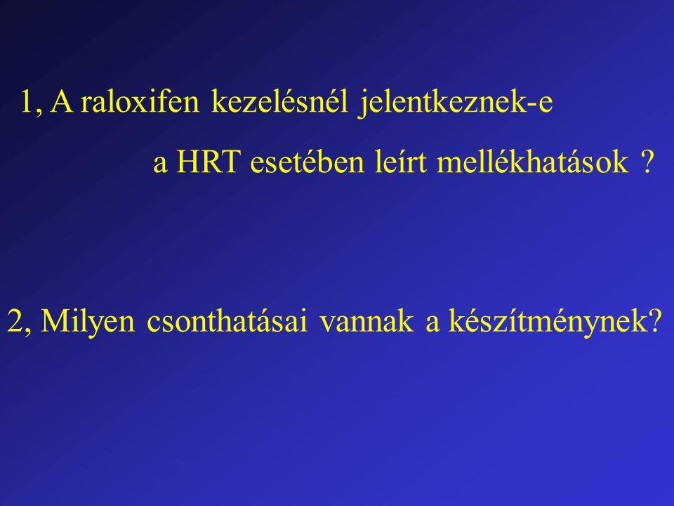 1, A raloxifen kezelésnél jelentkeznek-e a HRT esetében leírt mellékhatások .