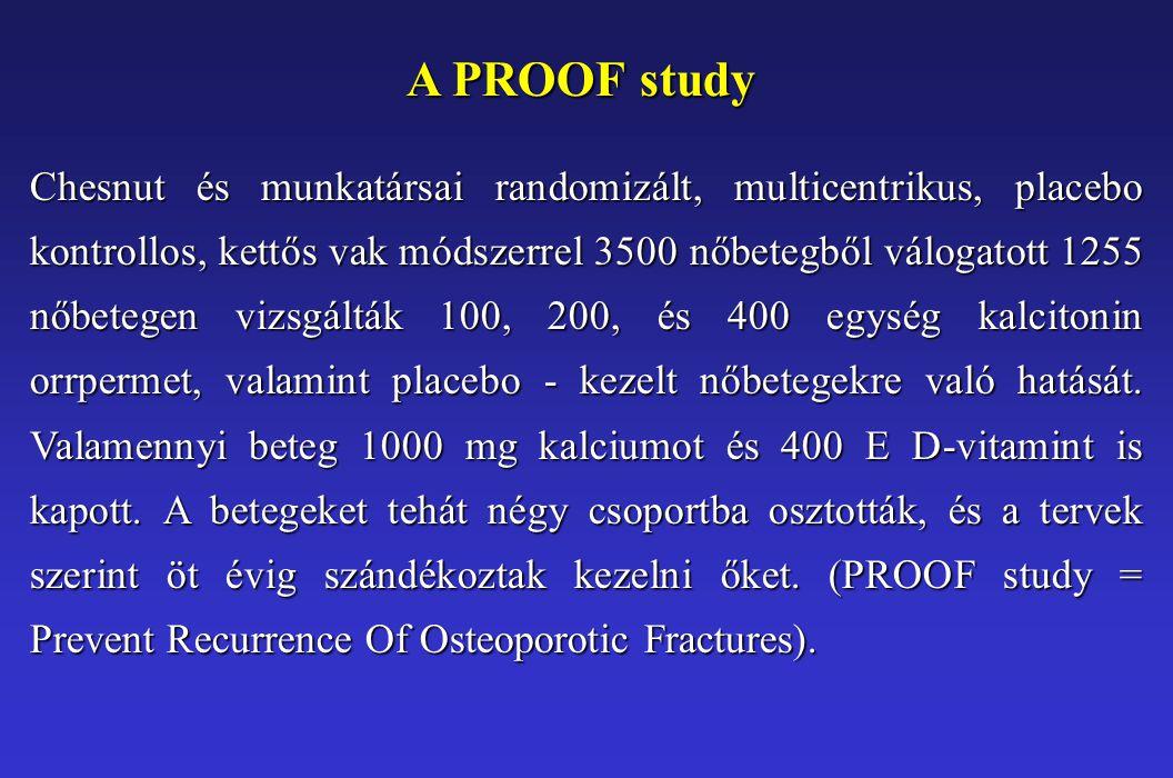 A PROOF study Chesnut és munkatársai randomizált, multicentrikus, placebo kontrollos, kettős vak módszerrel 3500 nőbetegből válogatott 1255 nőbetegen vizsgálták 100, 200, és 400 egység kalcitonin orrpermet, valamint placebo - kezelt nőbetegekre való hatását.
