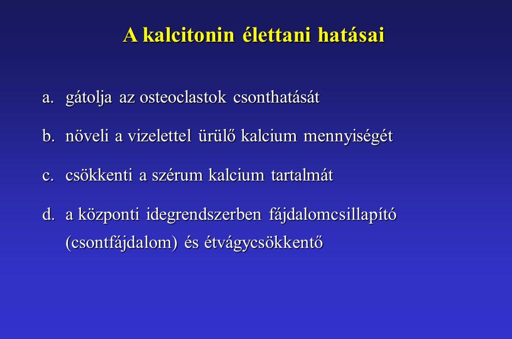 A kalcitonin élettani hatásai a.gátolja az osteoclastok csonthatását b.növeli a vizelettel ürülő kalcium mennyiségét c.csökkenti a szérum kalcium tartalmát d.a központi idegrendszerben fájdalomcsillapító (csontfájdalom) és étvágycsökkentő