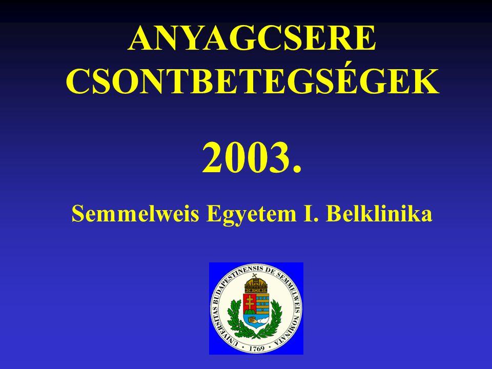 ANYAGCSERE CSONTBETEGSÉGEK 2003 Risendronat dr.Takács István Semmelweis Egyetem I.Sz.