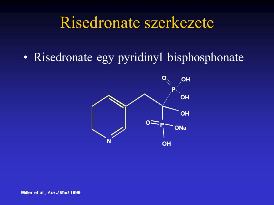 Risedronate szerkezete Risedronate egy pyridinyl bisphosphonate Miller et al., Am J Med 1999 N P P OH O ONa OH O