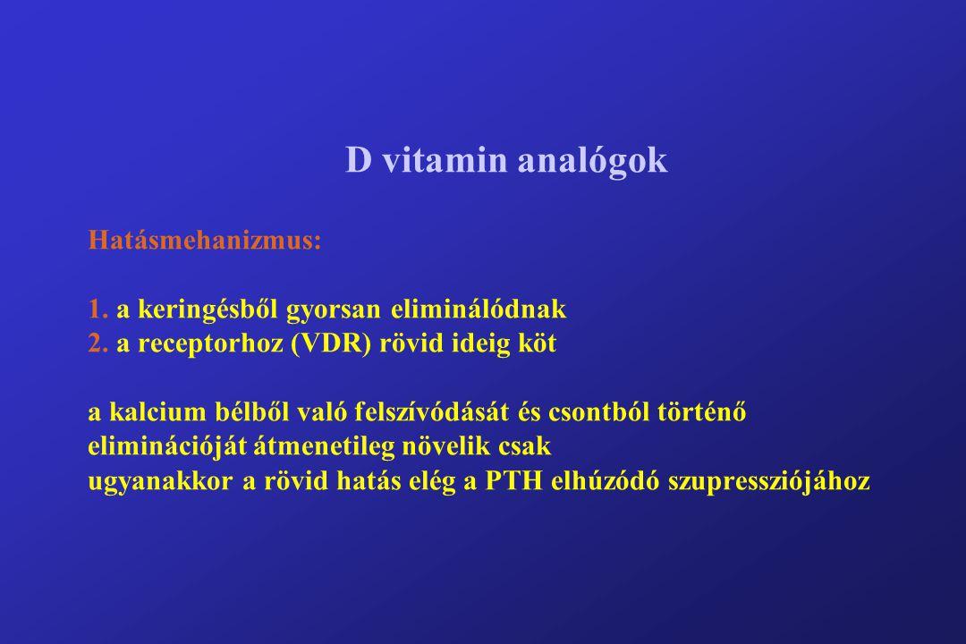 D vitamin analógok Hatásmehanizmus: 1. a keringésből gyorsan eliminálódnak 2.