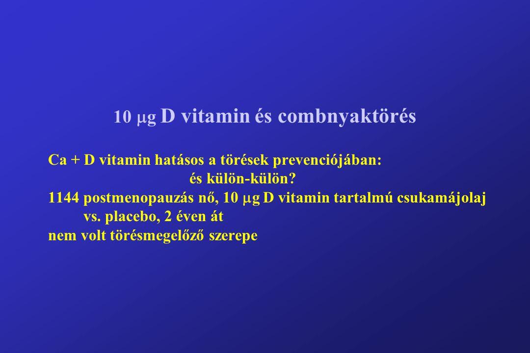 10  g D vitamin és combnyaktörés Ca + D vitamin hatásos a törések prevenciójában: és külön-külön.