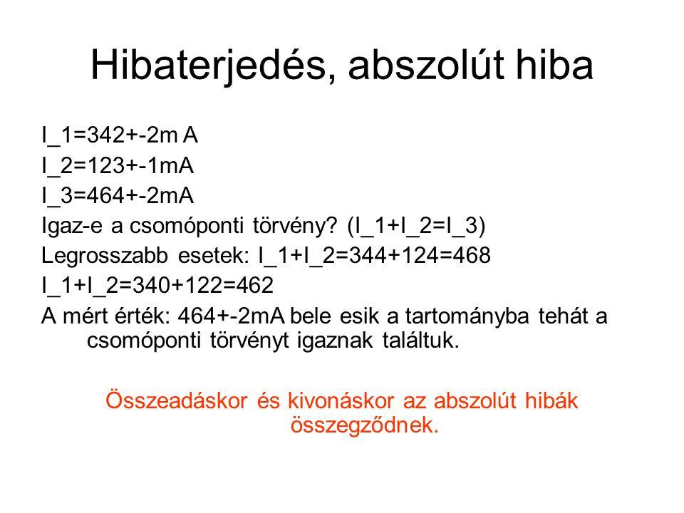 Hibaterjedés, abszolút hiba I_1=342+-2m A I_2=123+-1mA I_3=464+-2mA Igaz-e a csomóponti törvény? (I_1+I_2=I_3) Legrosszabb esetek: I_1+I_2=344+124=468