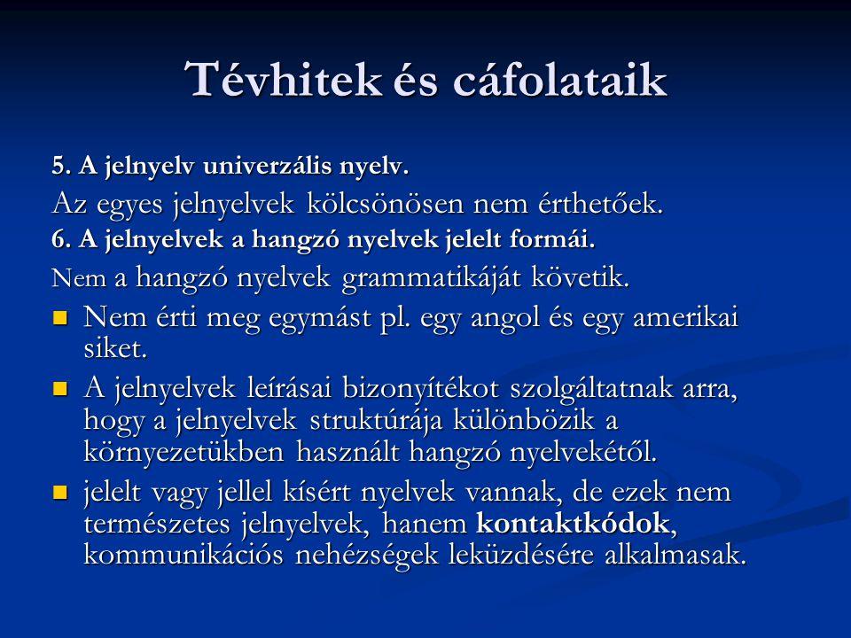 Tévhitek és cáfolataik 5. A jelnyelv univerzális nyelv. Az egyes jelnyelvek kölcsönösen nem érthetőek. 6. A jelnyelvek a hangzó nyelvek jelelt formái.