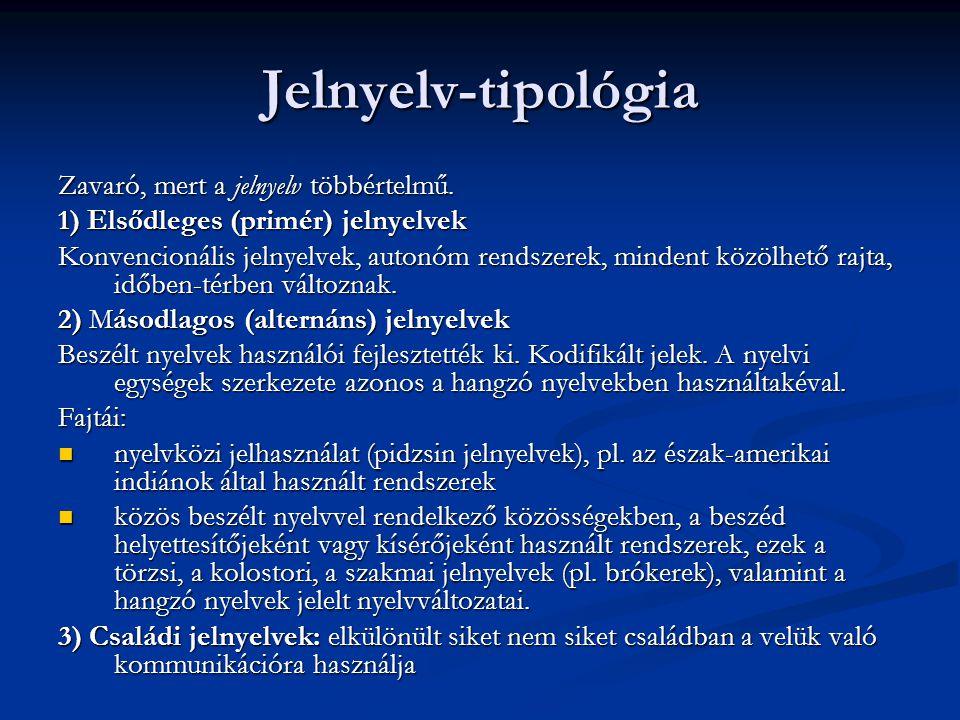 Jelnyelv-tipológia Zavaró, mert a jelnyelv többértelmű. 1) Elsődleges (primér) jelnyelvek Konvencionális jelnyelvek, autonóm rendszerek, mindent közöl