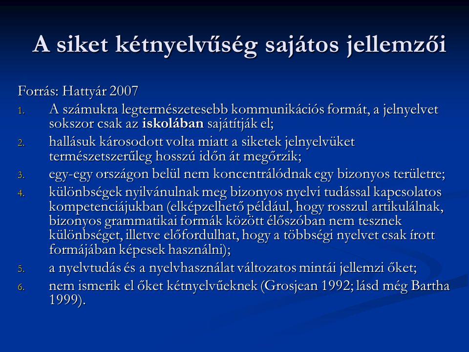 A siket kétnyelvűség sajátos jellemzői Forrás: Hattyár 2007 1. A számukra legtermészetesebb kommunikációs formát, a jelnyelvet sokszor csak az iskoláb