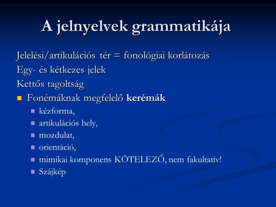 A jelnyelvek grammatikája Jelelési/artikulációs tér = fonológiai korlátozás Egy- és kétkezes jelek Kettős tagoltság Fonémáknak megfelelő kerémák Foném