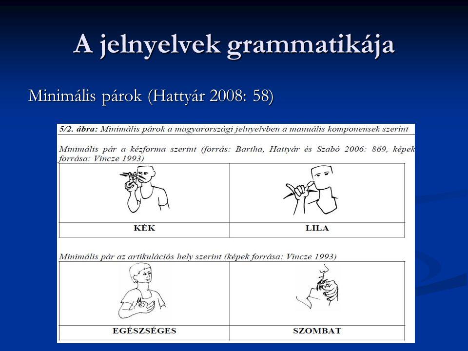 A jelnyelvek grammatikája Minimális párok (Hattyár 2008: 58)