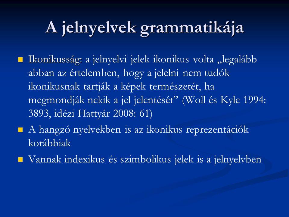 """A jelnyelvek grammatikája Ikonikusság: Ikonikusság: a jelnyelvi jelek ikonikus volta """"legalább abban az értelemben, hogy a jelelni nem tudók ikonikusn"""