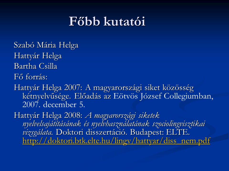 Főbb kutatói Szabó Mária Helga Hattyár Helga Bartha Csilla Fő forrás: Hattyár Helga 2007: A magyarországi siket közösség kétnyelvűsége. Előadás az Hat
