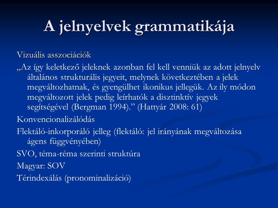 """A jelnyelvek grammatikája Vizuális asszociációk """" """"Az így keletkező jeleknek azonban fel kell venniük az adott jelnyelv általános strukturális jegyeit"""