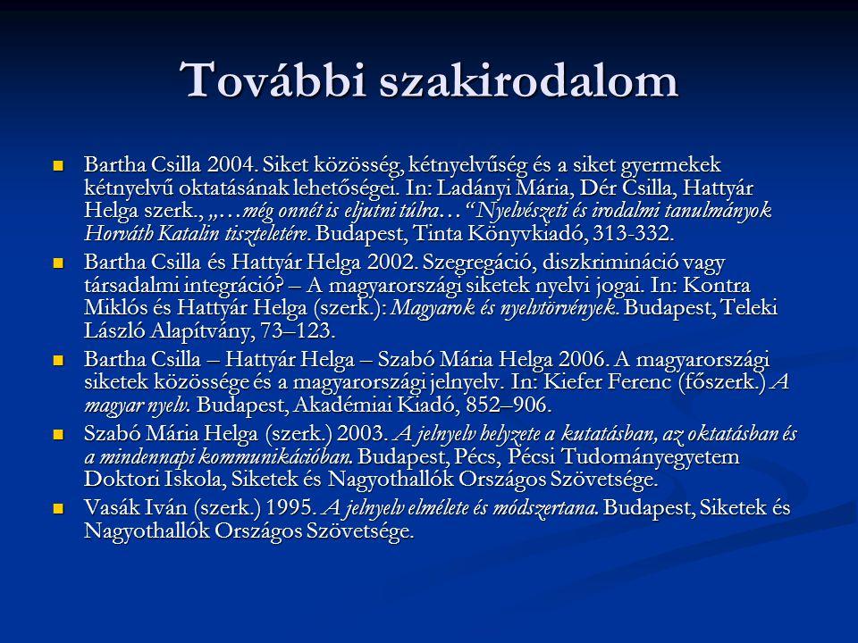 További szakirodalom Bartha Csilla 2004. Siket közösség, kétnyelvűség és a siket gyermekek kétnyelvű oktatásának lehetőségei. In: Ladányi Mária, Dér C