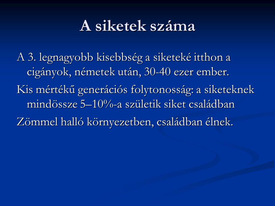 A siket kétnyelvűség sajátos jellemzői Forrás: Hattyár 2007 1.
