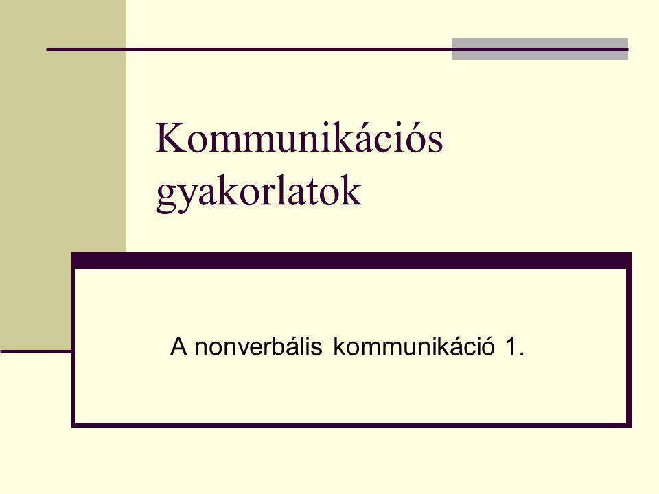 Kommunikációs gyakorlatok A nonverbális kommunikáció 1.