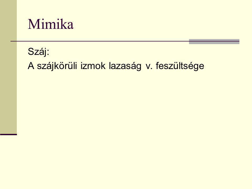 Mimika Száj: A szájkörüli izmok lazaság v. feszültsége