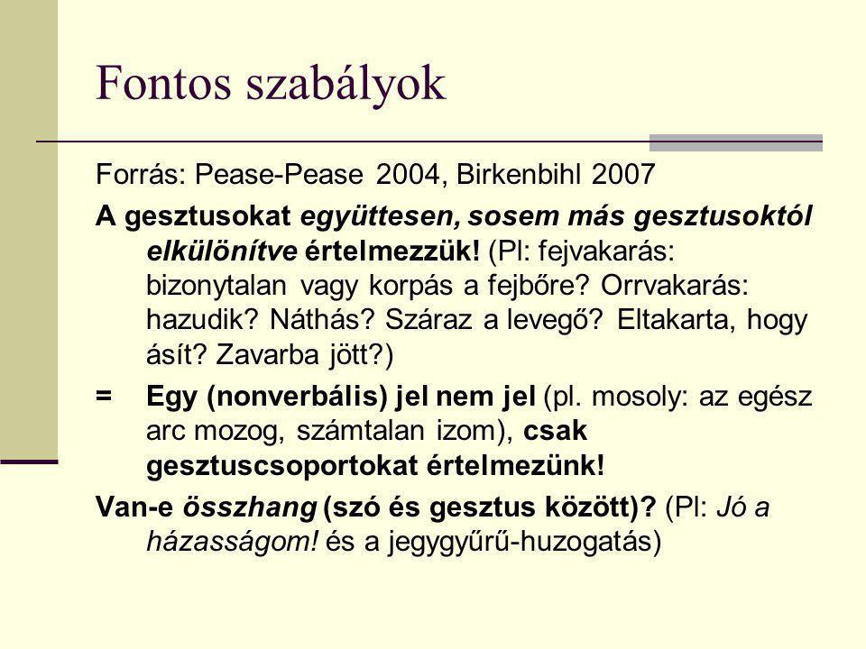 Fontos szabályok Forrás: Pease-Pease 2004, Birkenbihl 2007 A gesztusokat együttesen, sosem más gesztusoktól elkülönítve értelmezzük! (Pl: fejvakarás: