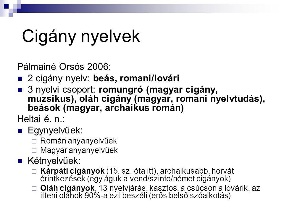 Cigány nyelvek Pálmainé Orsós 2006: 2 cigány nyelv: beás, romani/lovári 3 nyelvi csoport: romungró (magyar cigány, muzsikus), oláh cigány (magyar, rom
