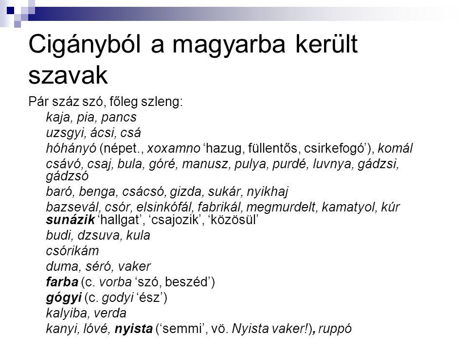 Cigányból a magyarba került szavak Pár száz szó, főleg szleng: kaja, pia, pancs uzsgyi, ácsi, csá hóhányó (népet., xoxamno 'hazug, füllentős, csirkefo