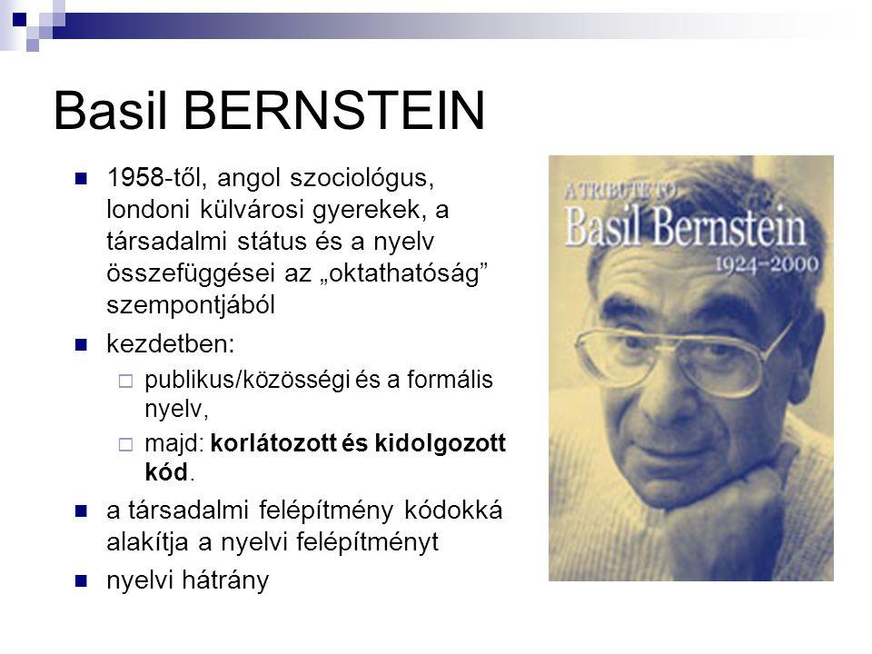 """Basil BERNSTEIN 1958-től, angol szociológus, londoni külvárosi gyerekek, a társadalmi státus és a nyelv összefüggései az """"oktathatóság"""" szempontjából"""