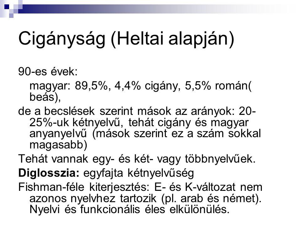 Cigányság (Heltai alapján) 90-es évek: magyar: 89,5%, 4,4% cigány, 5,5% román( beás), de a becslések szerint mások az arányok: 20- 25%-uk kétnyelvű, t