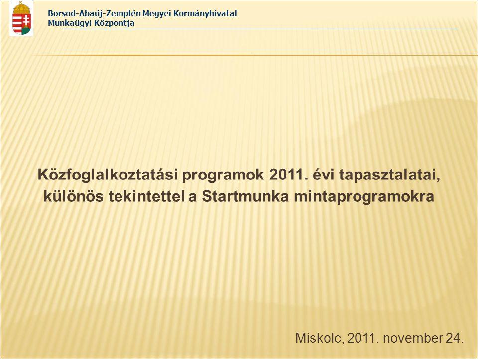 Borsod-Abaúj-Zemplén Megyei Kormányhivatal Munkaügyi Központja Miskolc, 2011. november 24. Közfoglalkoztatási programok 2011. évi tapasztalatai, külön