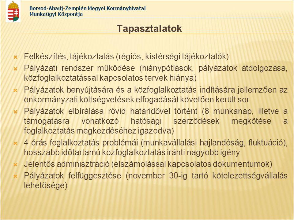 Borsod-Abaúj-Zemplén Megyei Kormányhivatal Munkaügyi Központja Tapasztalatok  Felkészítés, tájékoztatás (régiós, kistérségi tájékoztatók)  Pályázati