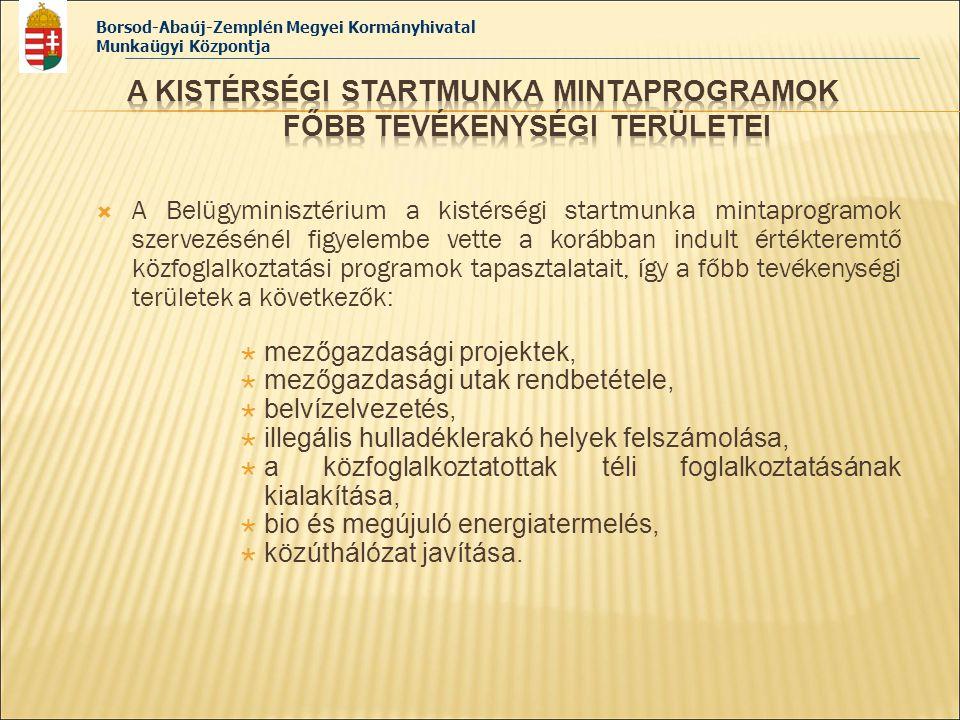 Borsod-Abaúj-Zemplén Megyei Kormányhivatal Munkaügyi Központja  A Belügyminisztérium a kistérségi startmunka mintaprogramok szervezésénél figyelembe