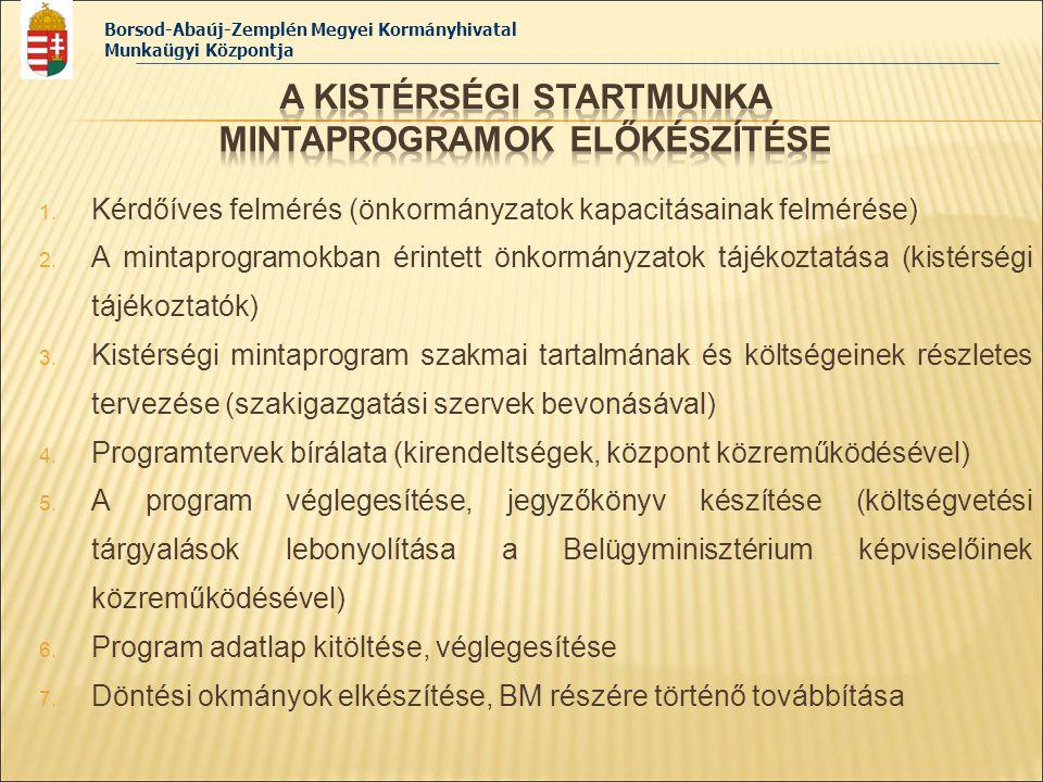 Borsod-Abaúj-Zemplén Megyei Kormányhivatal Munkaügyi Központja 1. Kérdőíves felmérés (önkormányzatok kapacitásainak felmérése) 2. A mintaprogramokban