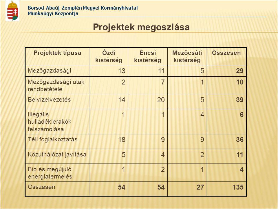 Borsod-Abaúj-Zemplén Megyei Kormányhivatal Munkaügyi Központja Projektek megoszlása Projektek típusaÓzdi kistérség Encsi kistérség Mezőcsáti kistérség